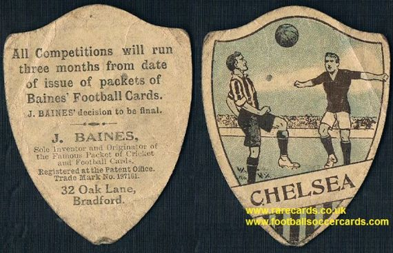 1918 Chelsea Baines g&b football shield shape card